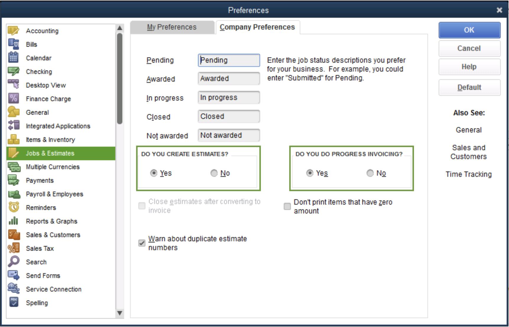 QuickBooks Desktop Progress Invoicing Preferences