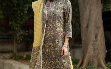 kessa kuoj80 cedar brown yellow kurta pant and dupatta set featured